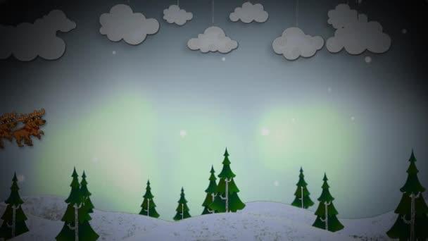 Seasons pozdravy Santa letět přes borovicový les 4k Loop nabízí zimní borovic rostou a posouvání ve smyčce s kreslené Santa létání nad a zanechala za sebou vánoční a novoroční vzkaz