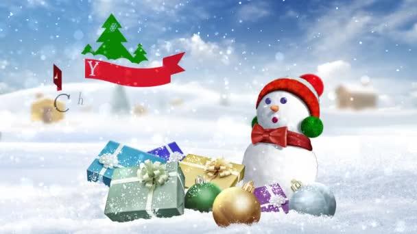 Veselé Vánoce od země 4k funkce sněhulák sedící mezi dárky a ozdoby s borovicemi a pohybující mraky na pozadí s sníh padá všude kolem a animované zprávy Veselé Vánoce