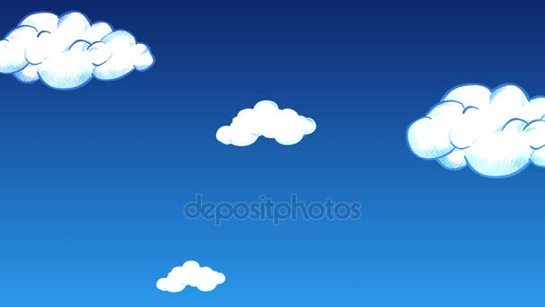 Up Through the Cartoon Clouds 4K Loop features a sky filled with clouds moving downward giving the sensation of flying upward in a loop and vector based