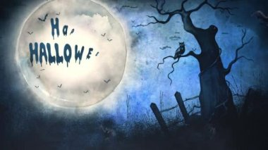 Happy Halloween Full Moon Message 4K Loop features a full moon in a grunge sky with an old dead tree and an owl with bats flying and an animated Happy Halloween message in a loop