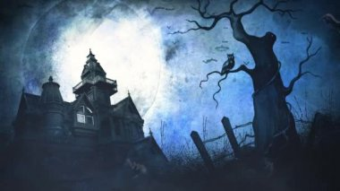 Halloween Full Moon Haunted Mansion Background 4K Loop features a full moon in a grunge sky with an old haunted mansion, dead tree with an owl, and bats flying in a loop