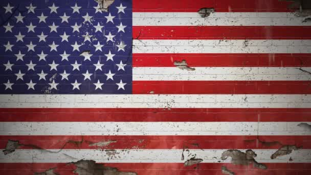 Blood Running Down US Flag Old Wall 4K features an old crumbling wall with an American flag painted on it with blood splattering on it and debris falling.