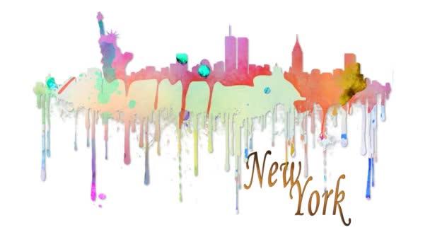New York akvarel silueta 4k Loop nabízí bílé pozadí s akvarel postříkání posouvání k vytvoření siluetou New Yorku s textem pod