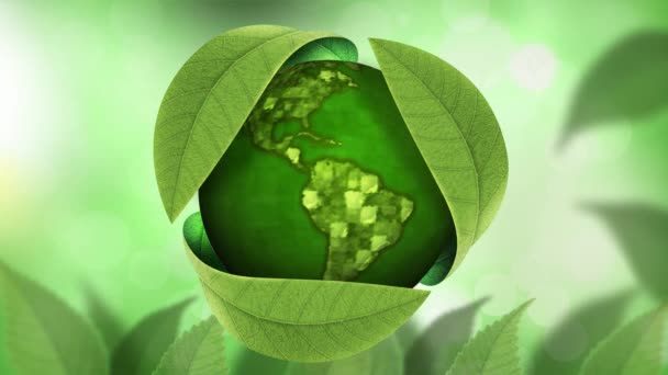 Earth Day Globe Under Leaves 4K Loop features a green globe revolving in a cover of leaves with a subtly animated green background in a loop