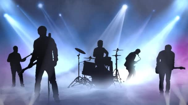 Rocking to the Beat Silhouettes on Stage 4K features silhouettes of musicians on stage with rolling fog and flashing lights