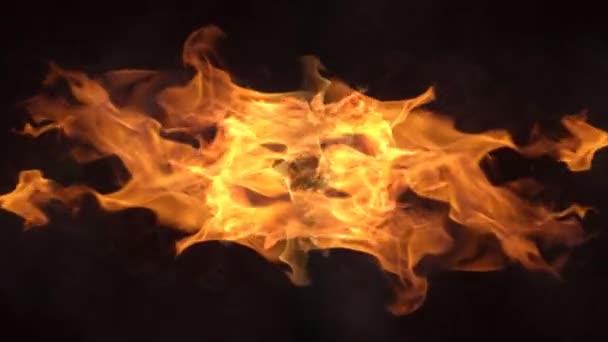 Hořící kouř Abstrakt 4K Loop funkce plameny neustále vyzařující z centrálního bodu uprostřed obrazovky ve smyčce