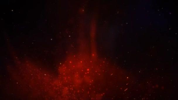 Red Smoke and Tendrils Blue Space 4K Loop jellegzetességei vörös füst és részecskék emelkednek egy sötét atmoszférába, kék és lila részecskék árnyalataival egy varrat nélküli hurokban.