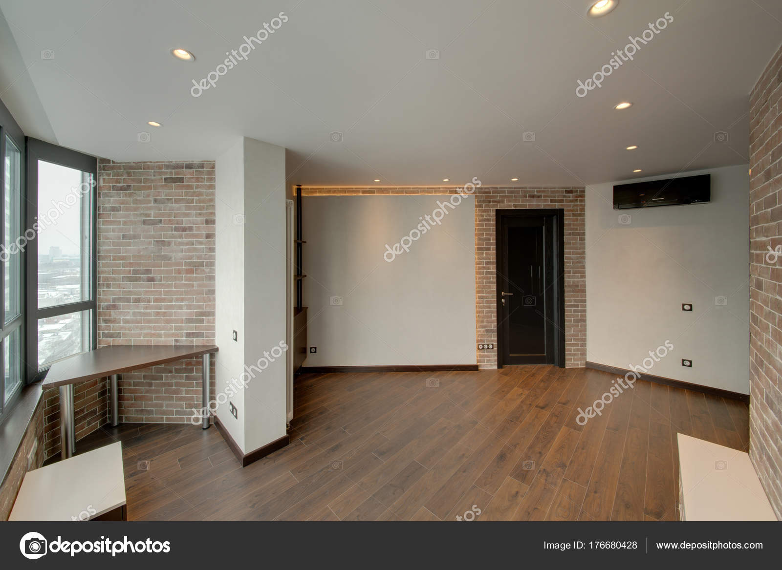 Room Combined Red Brick White Walls Dark Doors Dark Floor u2014 Stock Photo & Room Combined Red Brick White Walls Dark Doors Dark Floor u2014 Stock ...