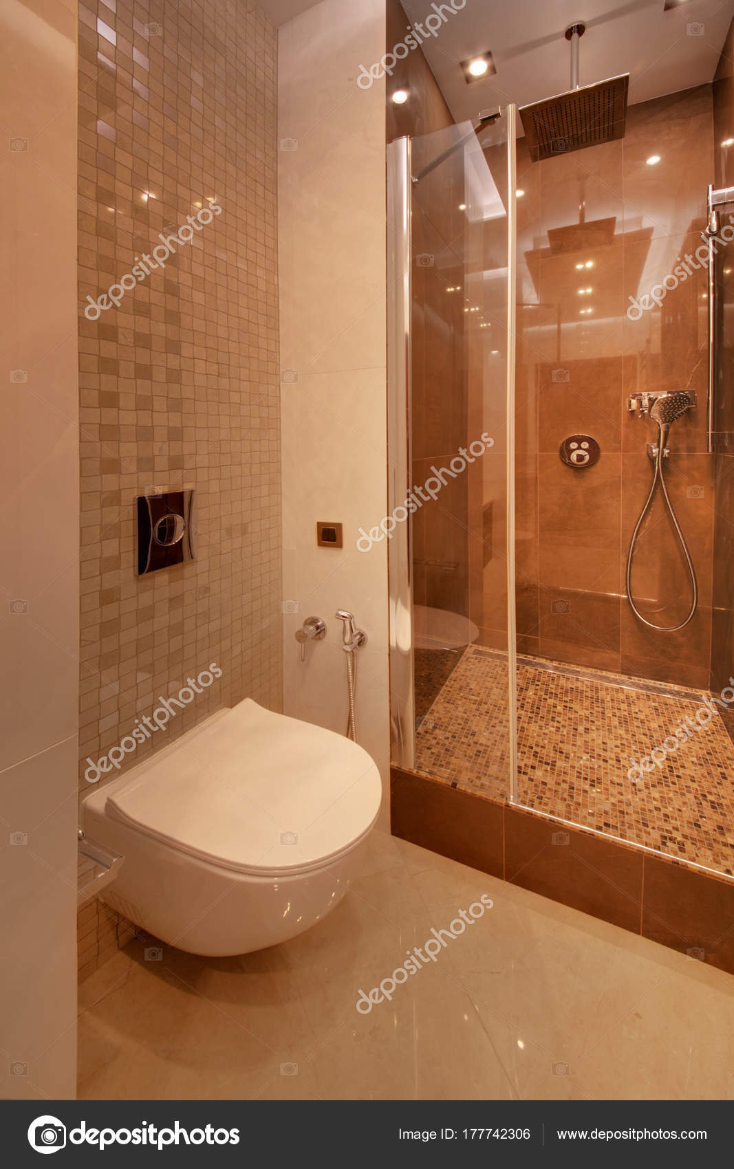 Brown Shower Cabin Glass Door — Stock Photo © twins03 #177742306
