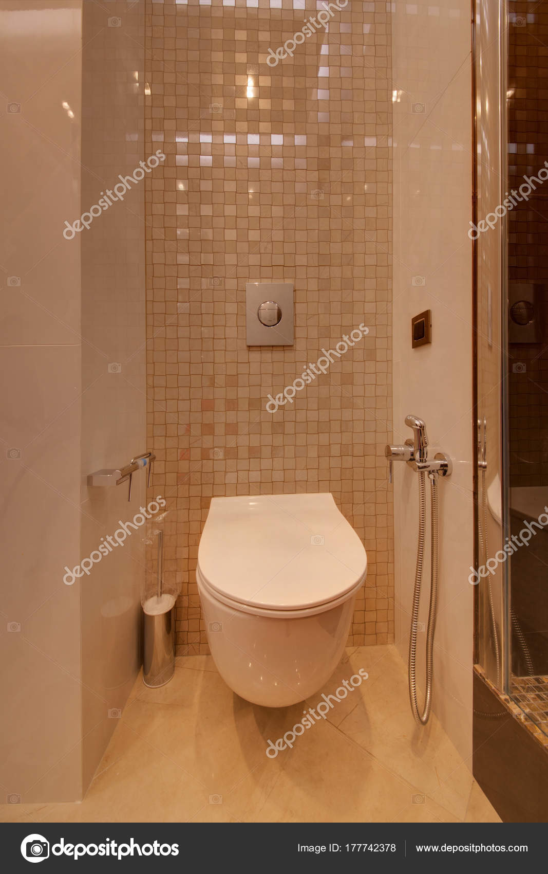 White Toilet Bowl Hygienic Shower Installation Wall — Stock Photo ...