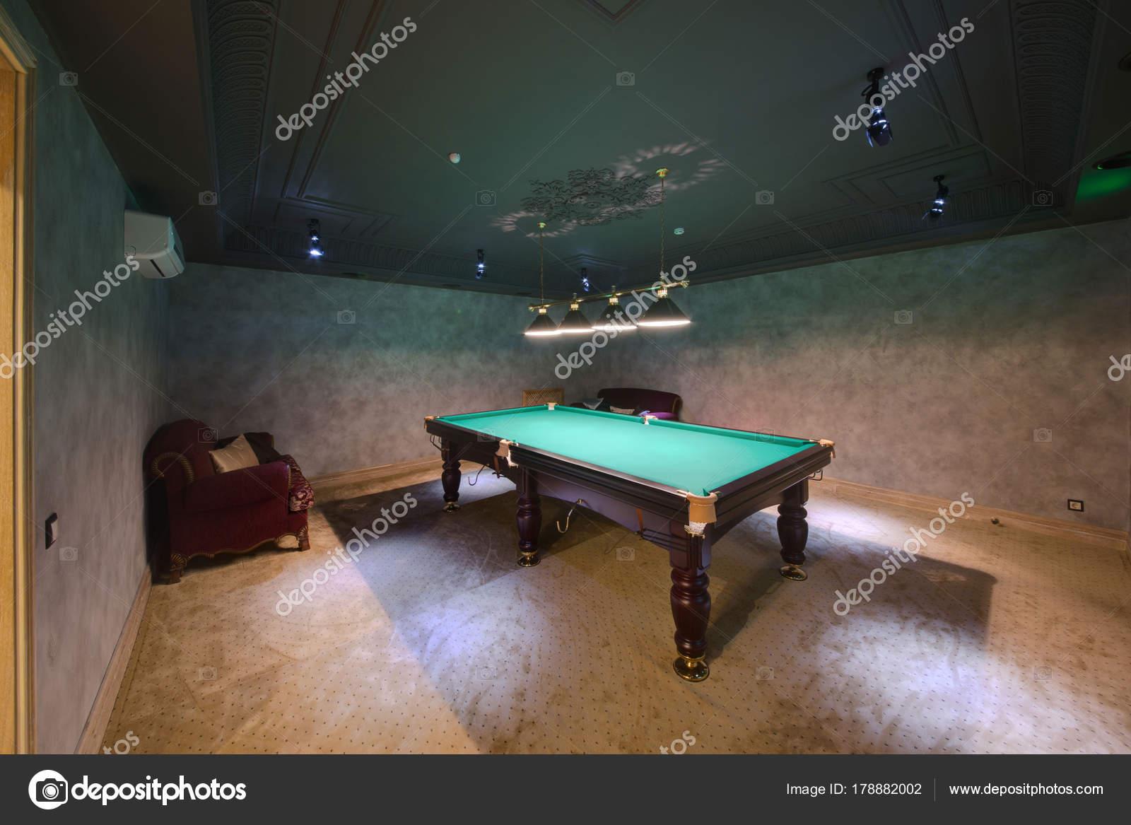 Billiard Table Lamps Illumination Small Room Stock Photo C Twins03