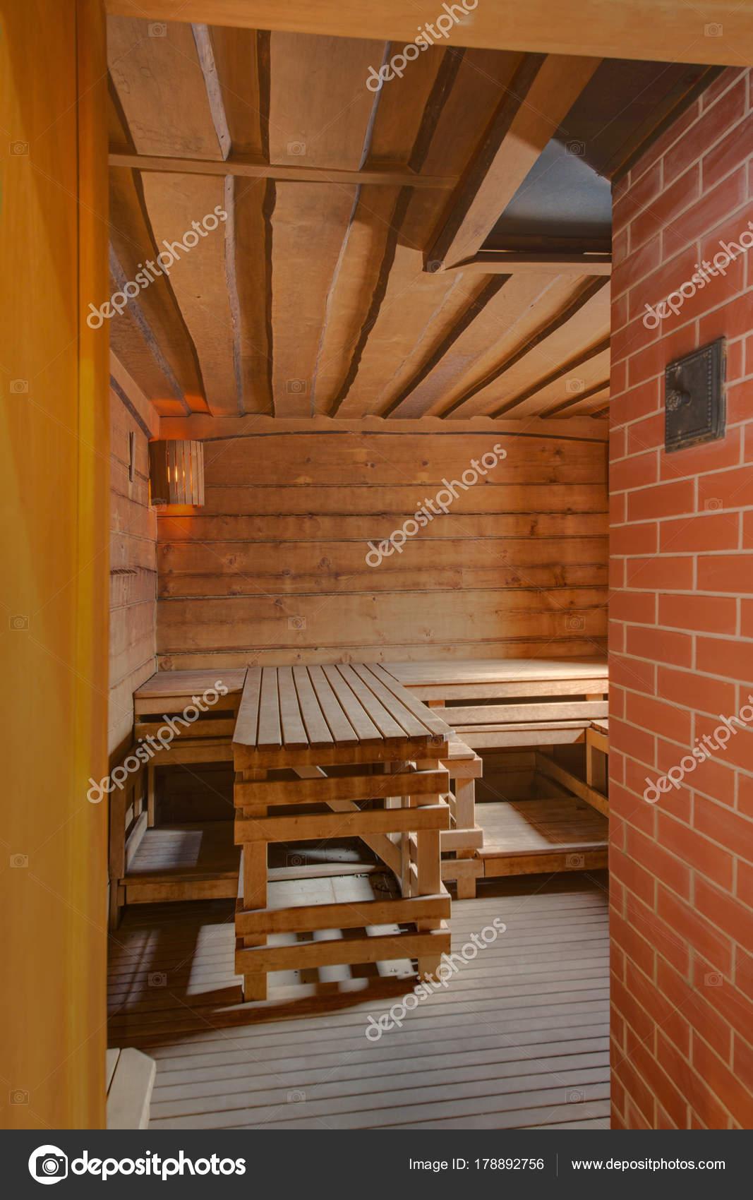 łaźnia Parowa łóżka Drewniane Deski Mur Cegły Zdjęcie
