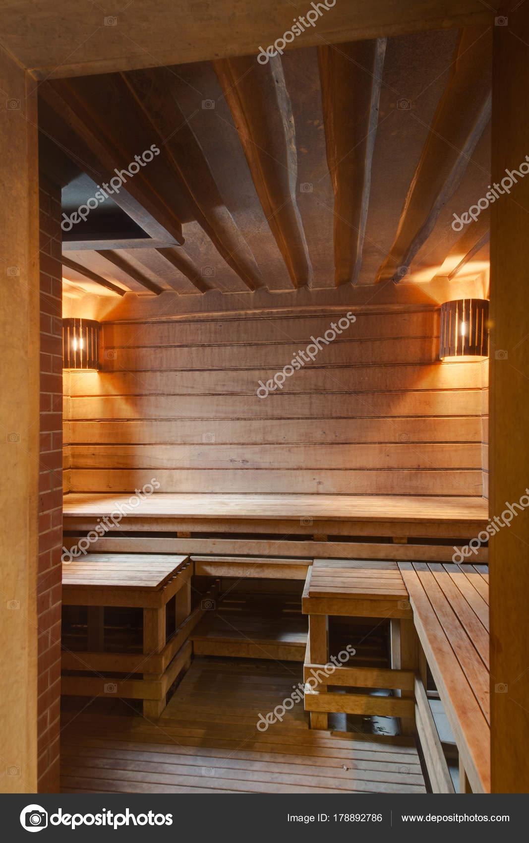 Drewniana Sauna łóżka Drewniane Deski ławki Zdjęcie