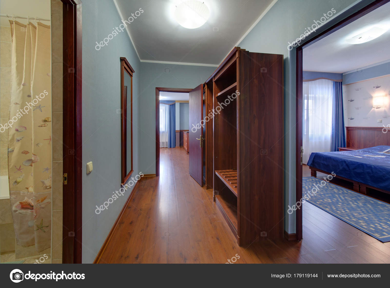 A Corridor With An Exit To The Bedroom And Drawing Room Dark Furniture Blue Walls Photo By Twins03
