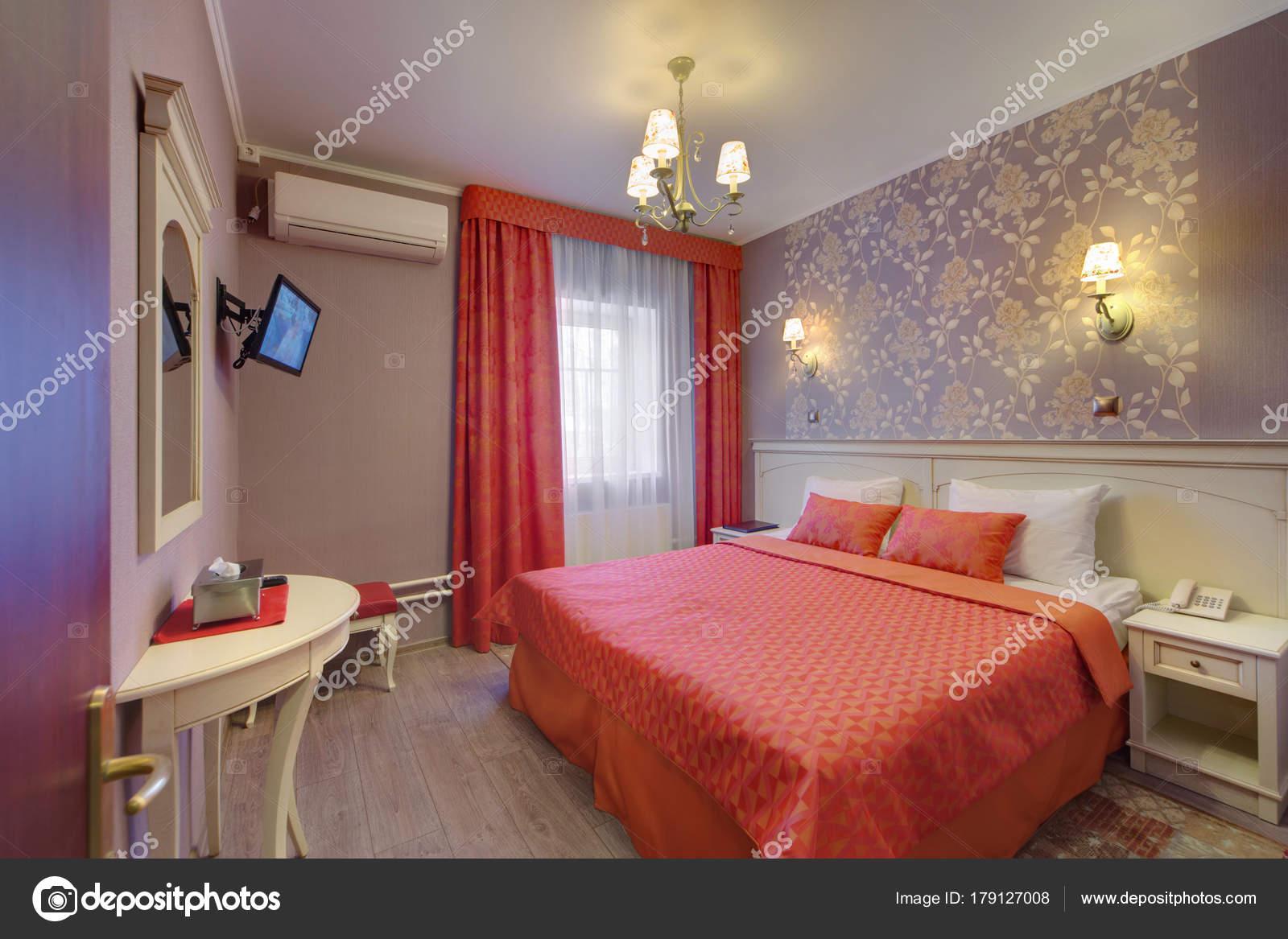 Orange Bedroom Cover Bed Orange Curtains Window — Stock Photo ...