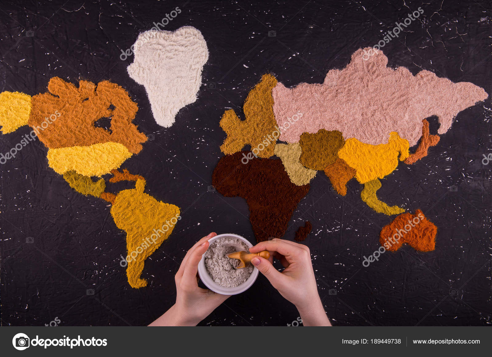 Hands jar spices background world map which laid out multi stock hands jar spices background world map which laid out multi stock photo gumiabroncs Gallery