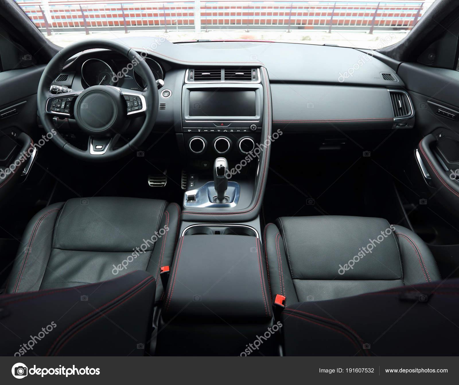 Bovenaanzicht Van Auto Interieur Met Leder Alcantara Bekleding ...