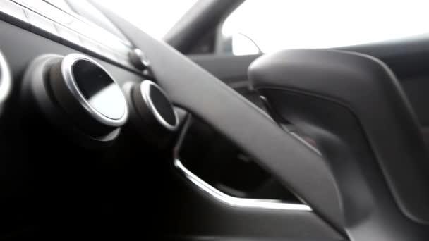 Klimatický systém indikuje teplotu v kožené auto vnitřní pohled bočnice video