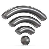 Kovové šedé Wifi podepsat 3d