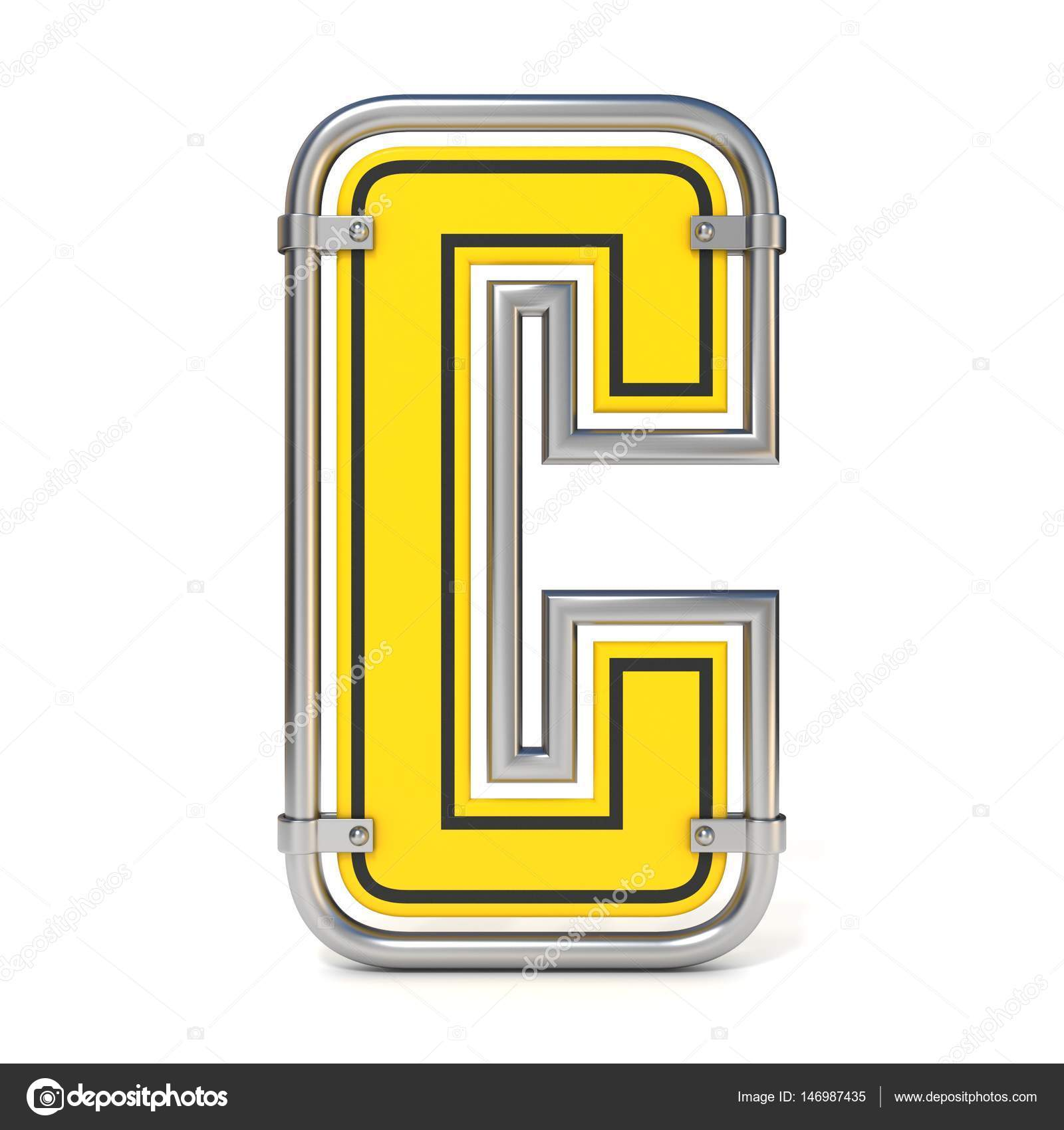 Gerahmte Verkehr Verkehrsschild Font Buchstaben C 3d — Stockfoto ...