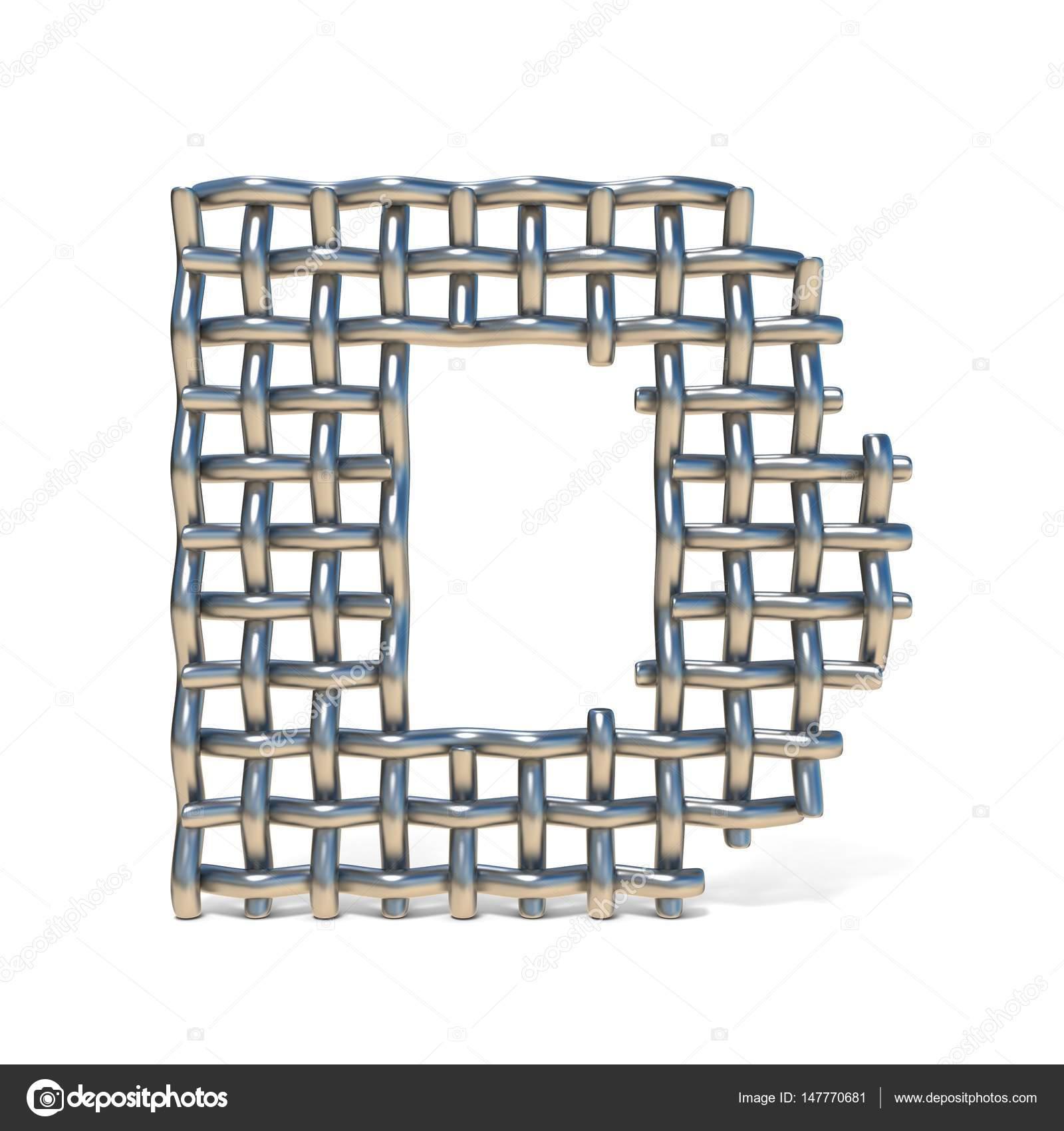Fuente de malla de alambre de metal letra D 3d — Fotos de Stock ...