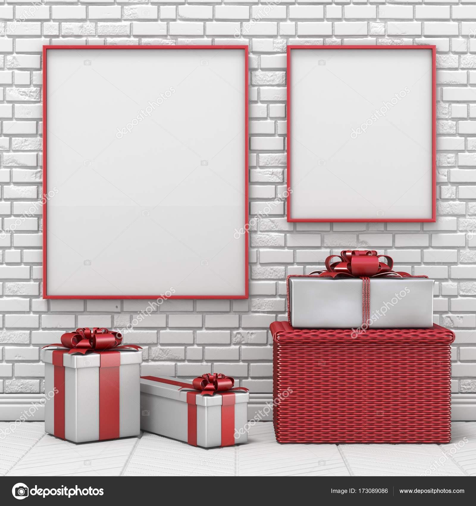 Mock-up leeren Bilderrahmen, Weihnachtsschmuck und Geschenke 3d ...