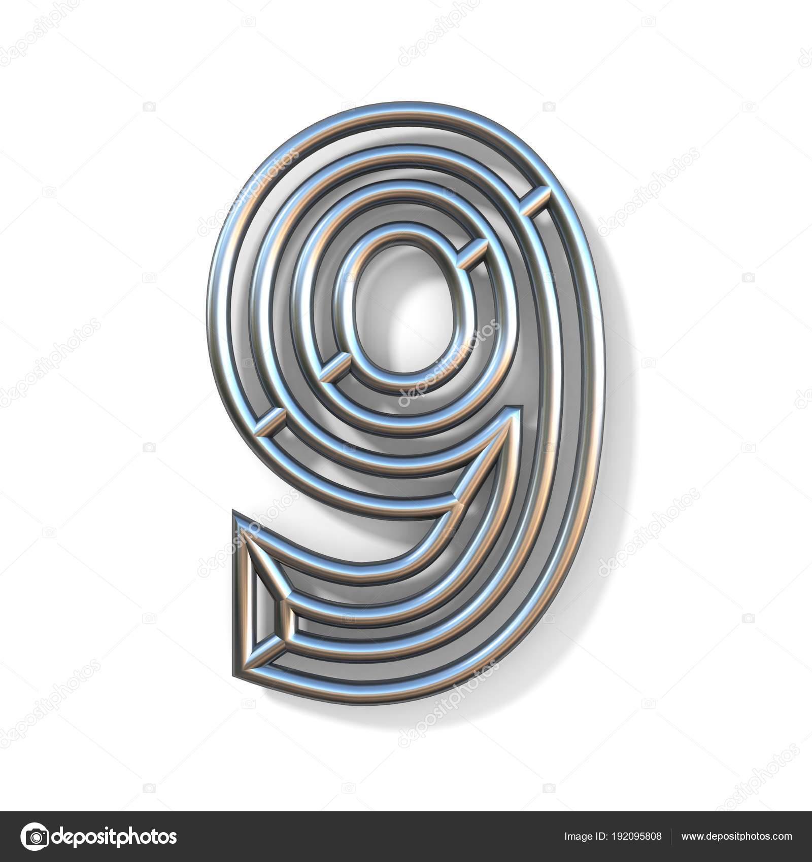 Draht-Schriftart Gliederungsnummer 9 neun 3d — Stockfoto © djmilic ...