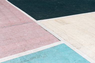 Multi-colored concrete court on the playground