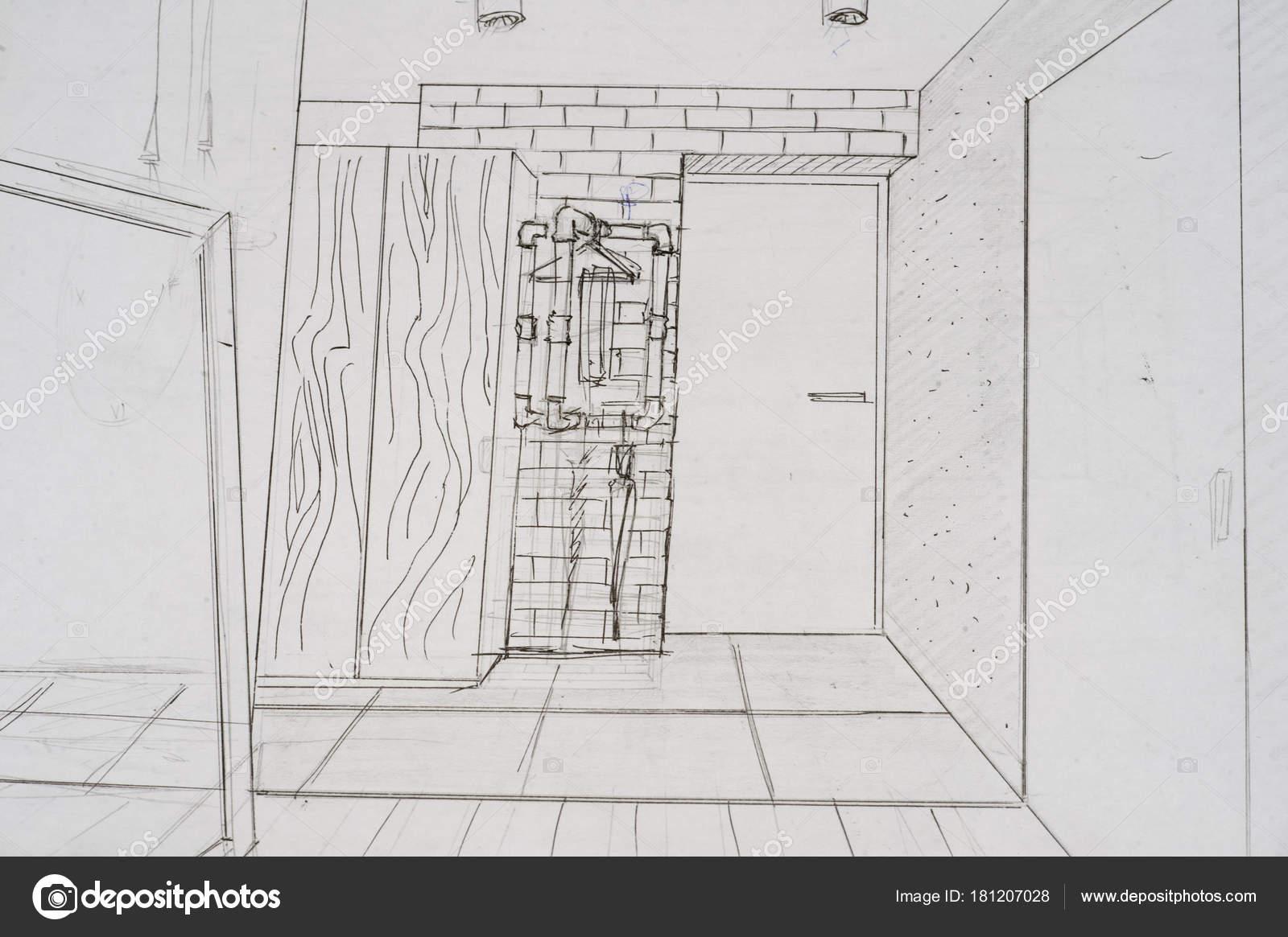 Projektowanie Wnętrz Jest Rysowany Ołówkiem Szkic Rysunek Zdjęcie
