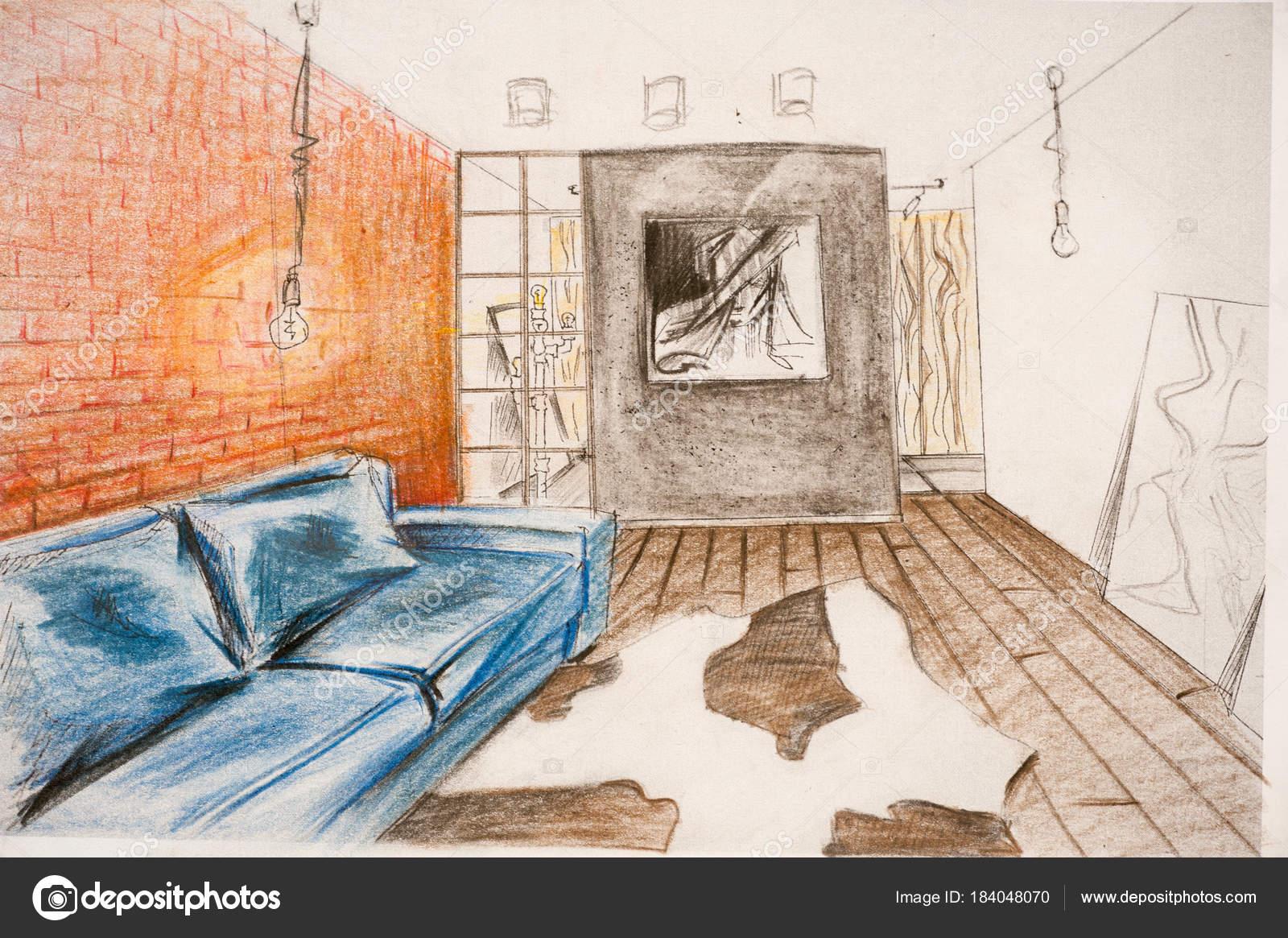 Das Interieur Design Wird Mit Einem Bleistift Eine Skizze Zeichnen U2014  Stockfoto