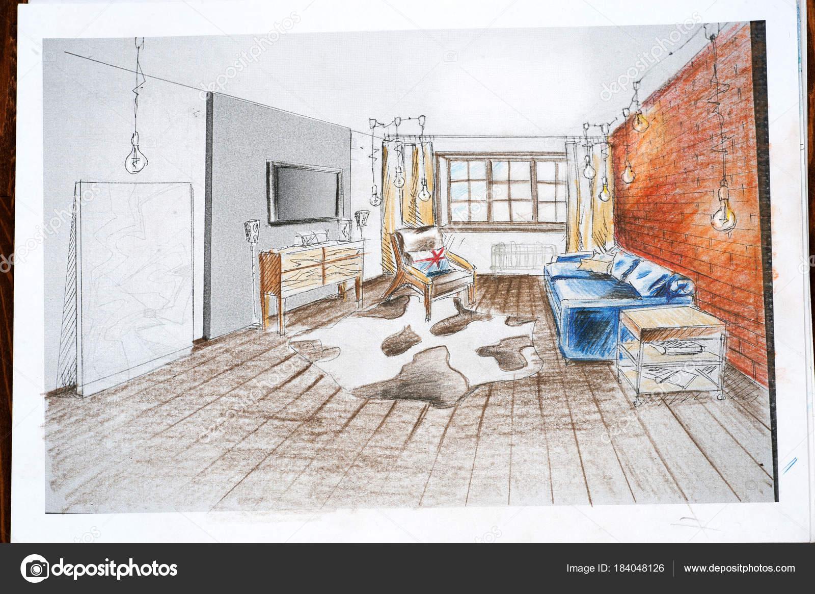 Captivating Das Interieur Design Wird Mit Einem Bleistift Eine Skizze Zeichnen U2014  Stockfoto