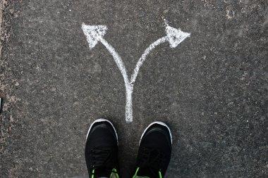 arrows chalk on asphalt
