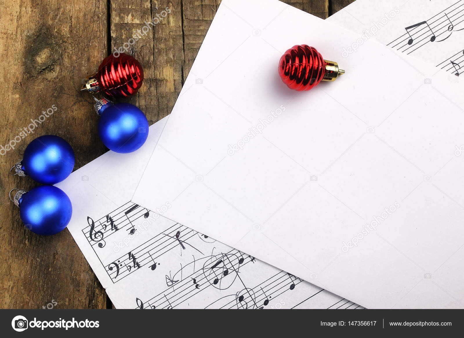 Christmas tree decorations on the table and sheet with music not– stock image