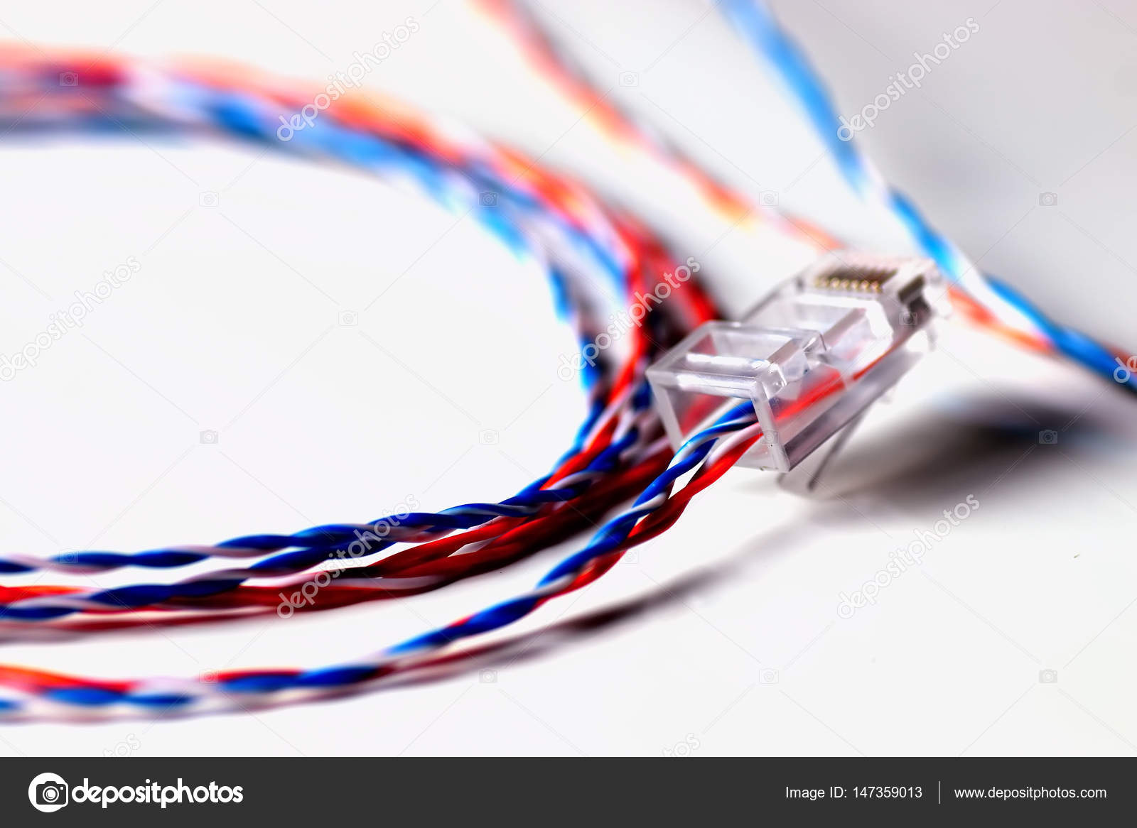 Plug Wire Color Lan Stock Photo Alexkich 147359013 Wiring Ethernet Cable Different On A White By