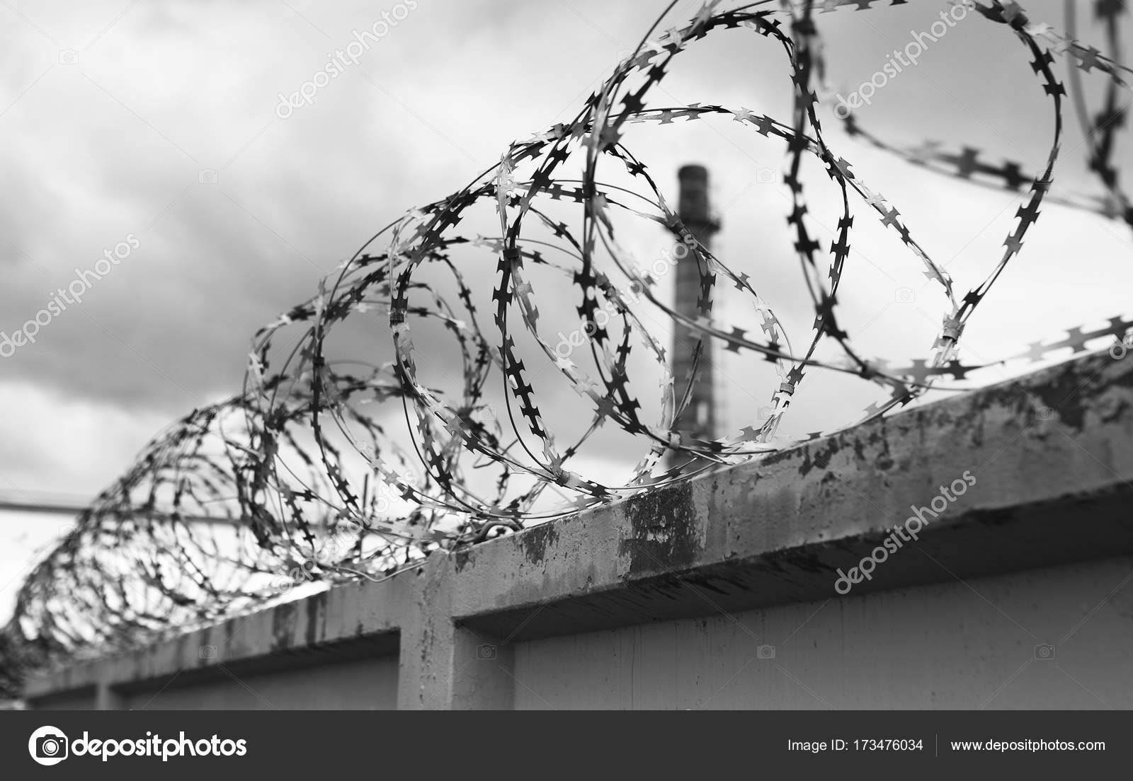 Concrete wall with barbed wire on fence — Stock Photo © alexkich ...