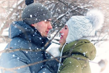 couple of young lovers winter