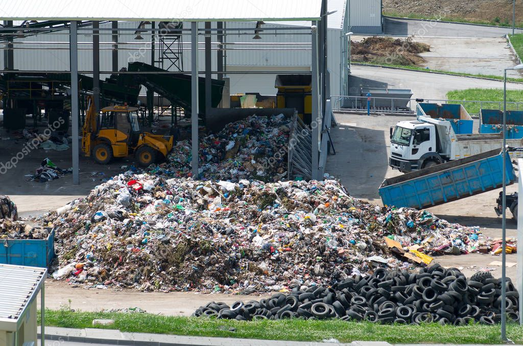 Urban landfill built under the program Environment with a grant from the European Union. Waste treatment plant depot.