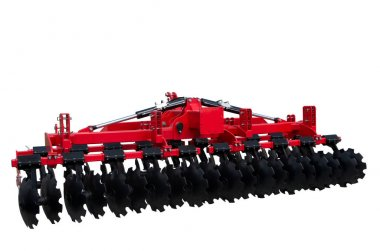 Tillage equipment. The disk harrow. Agricultural machinery for processing of the soil. Isolated on white. stock vector