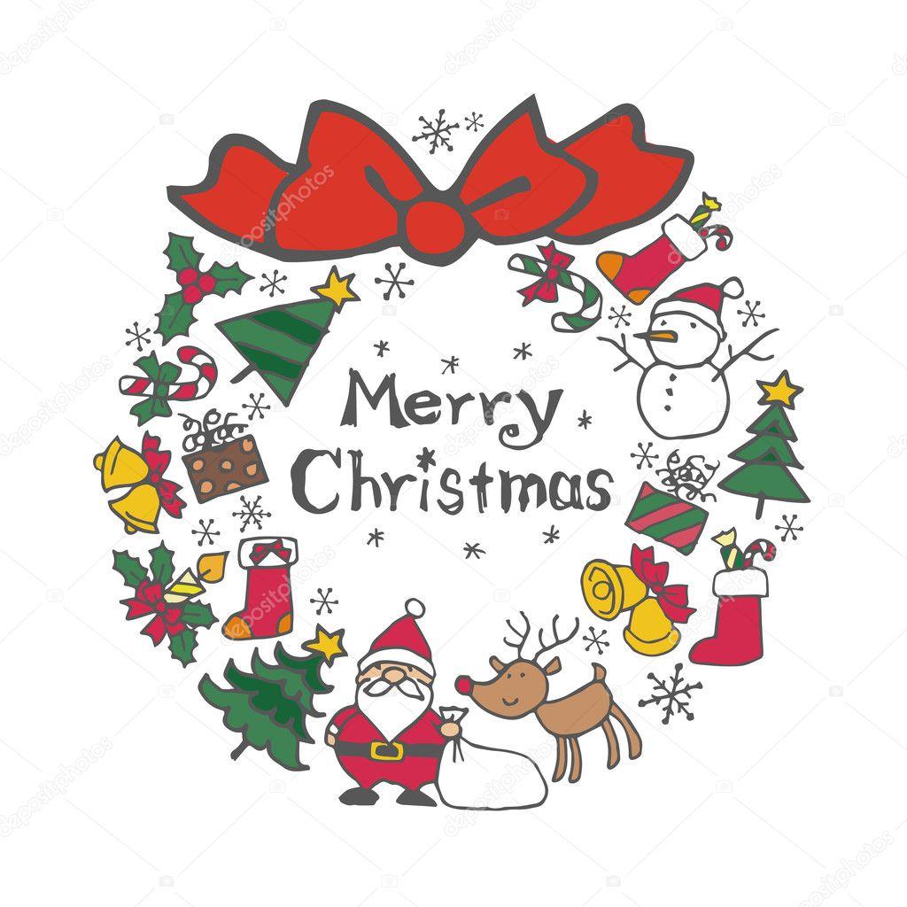 Immagini Vettoriali Natale.Corona Di Natale Con Elementi Di Natale Babbo Natale