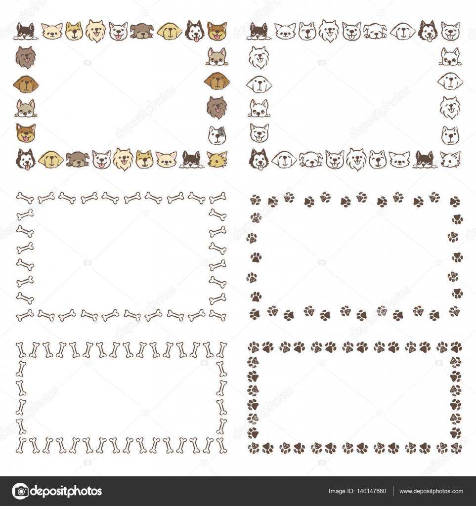 Marcos con diferentes tipos de perros, huesos, huellas — Archivo ...