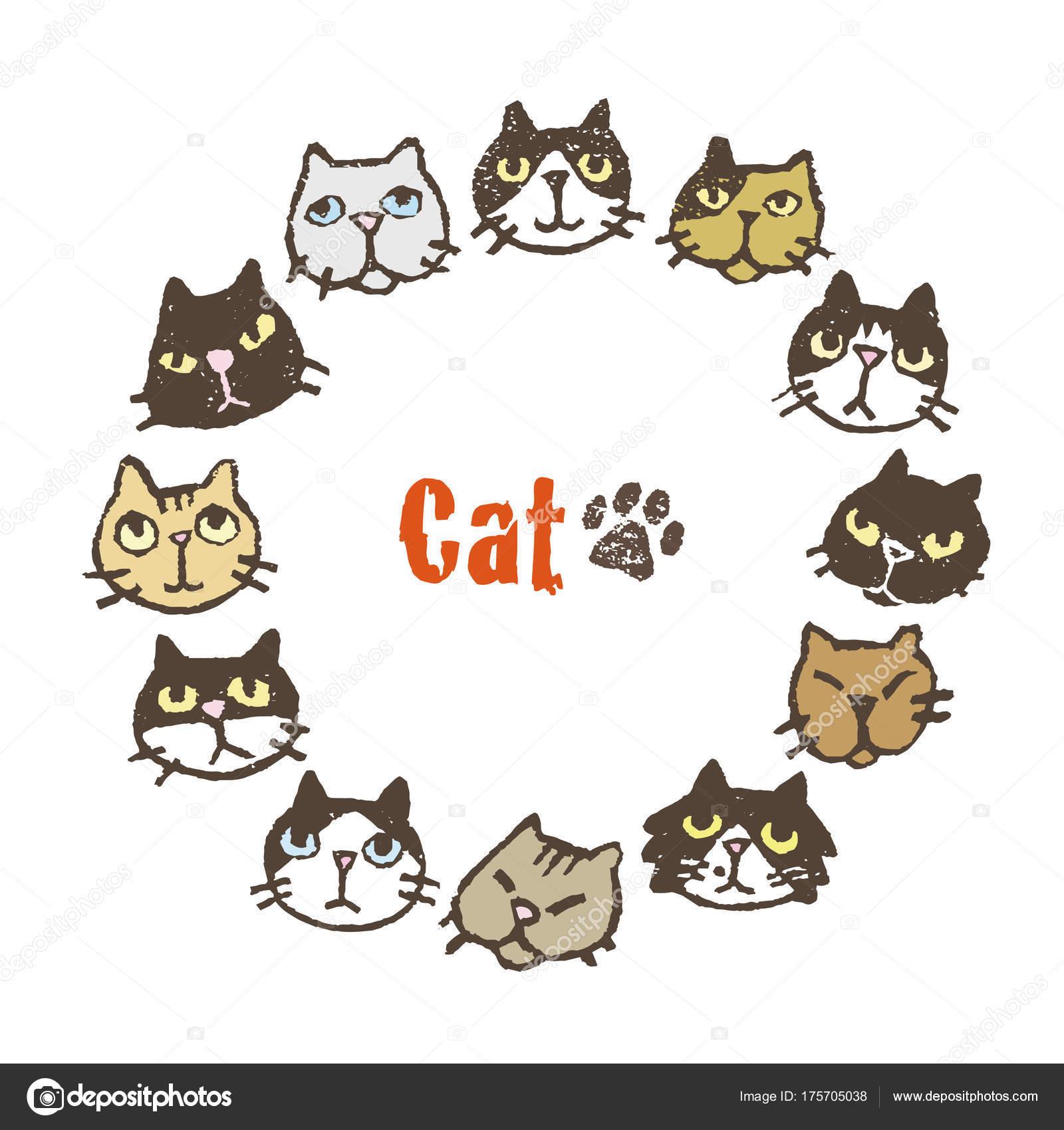 Kreis-Rahmen mit niedlichen Katzen, Rahmendesign — Stockvektor ...