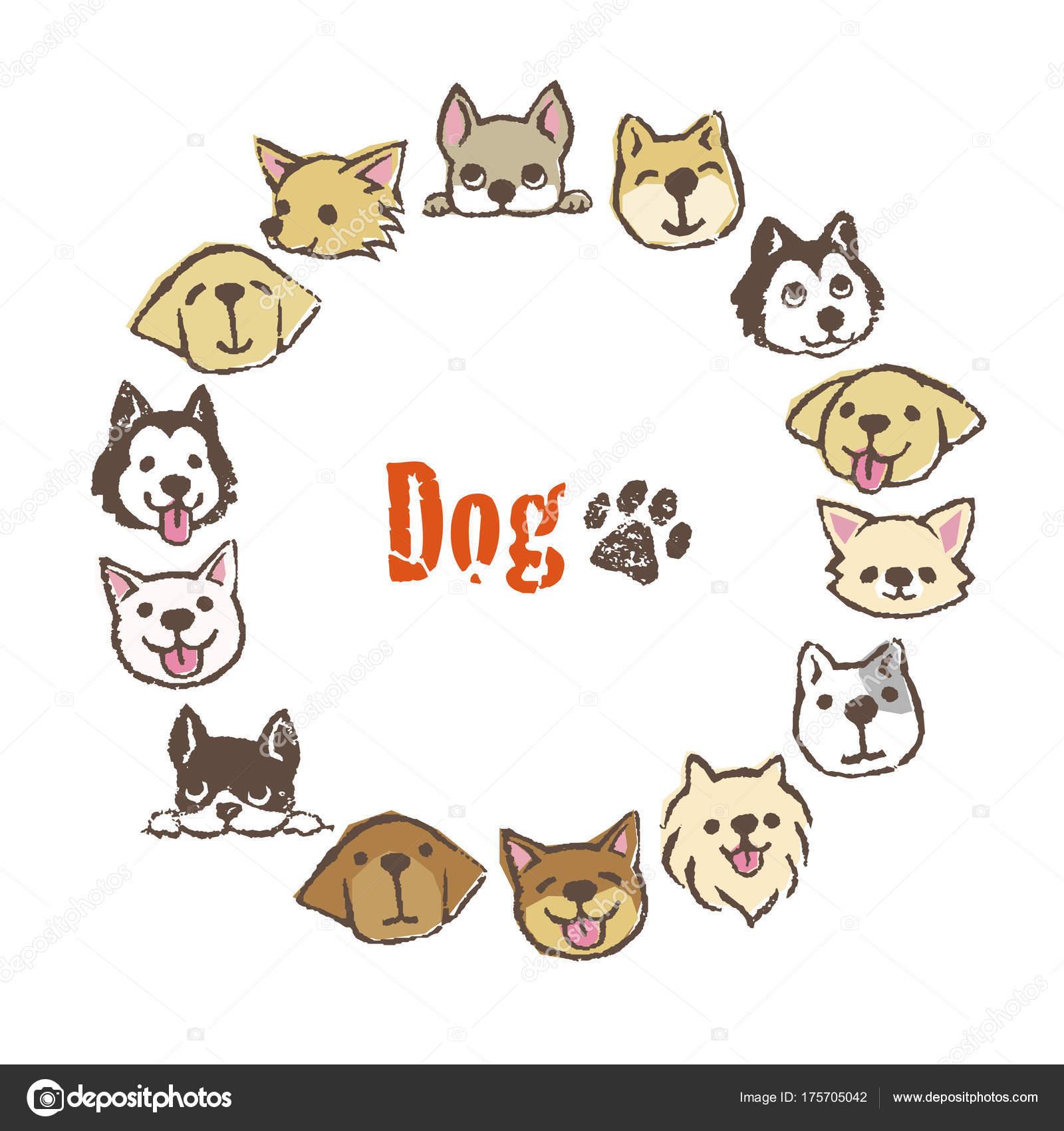Kreis-Frame mit niedlichen Hunden, Rahmendesign — Stockvektor ...