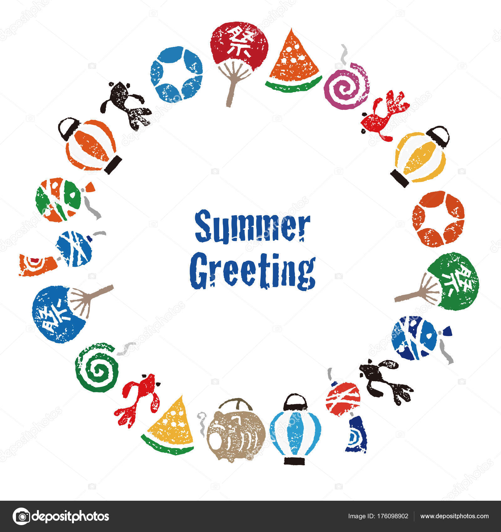 Summer greeting with japanese summer elements stock vector summer greeting with japanese summer elements stock vector m4hsunfo