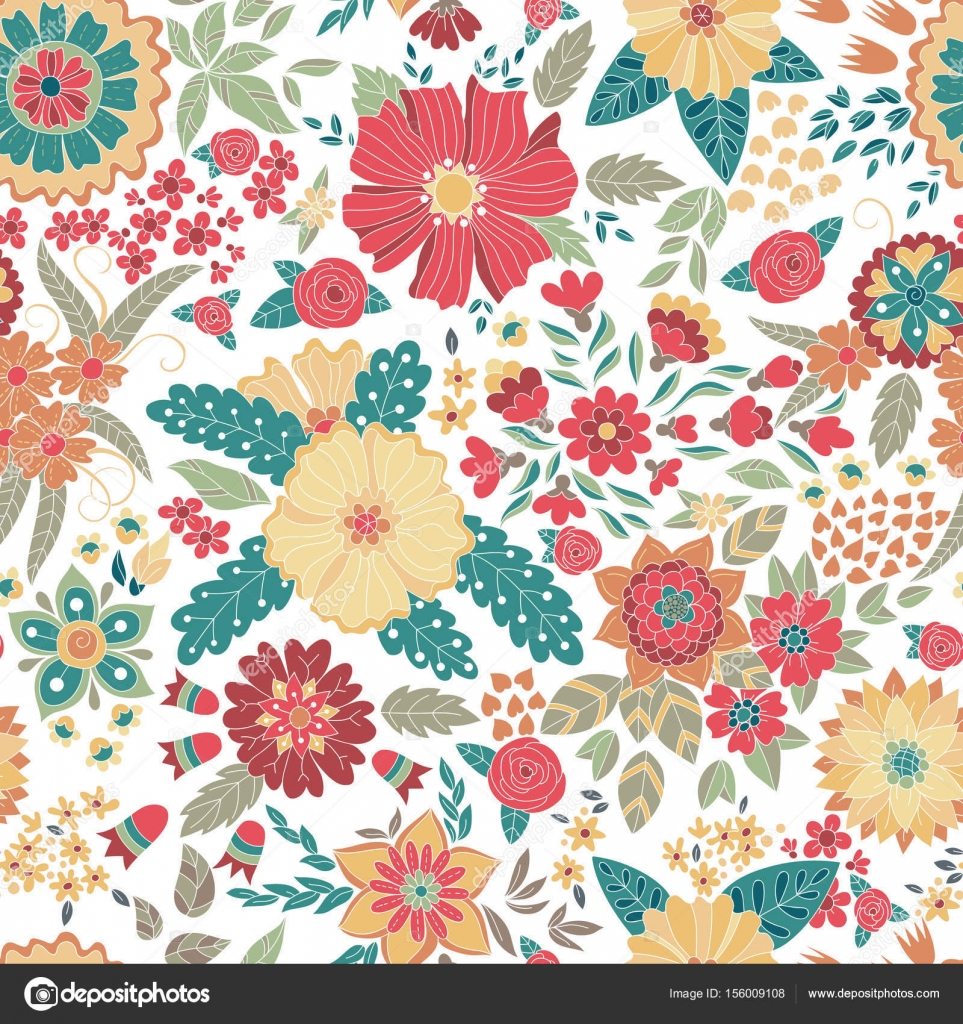 Vector Flower Pattern Colorful Seamless Botanic Texture Detailed