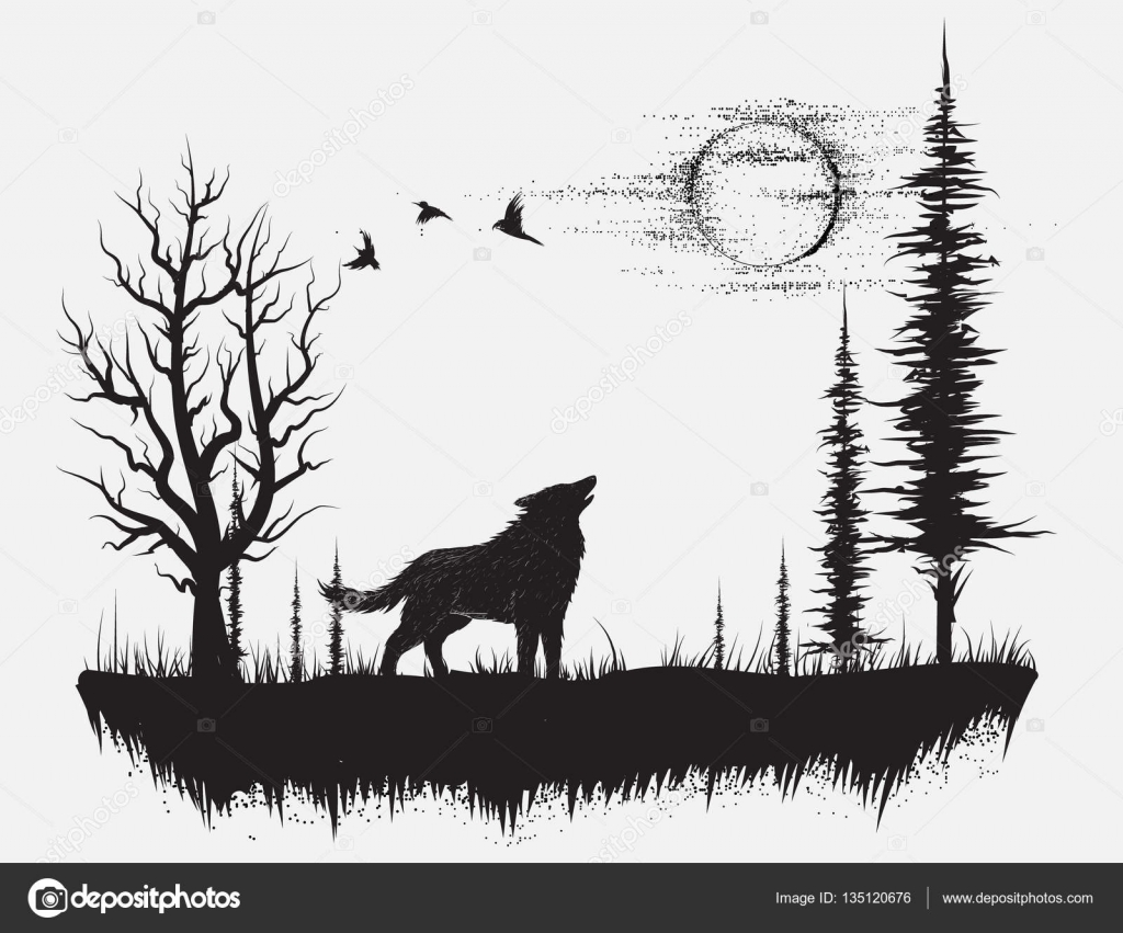 wolf howling at the moon u2014 stock vector mirquurius 135120676