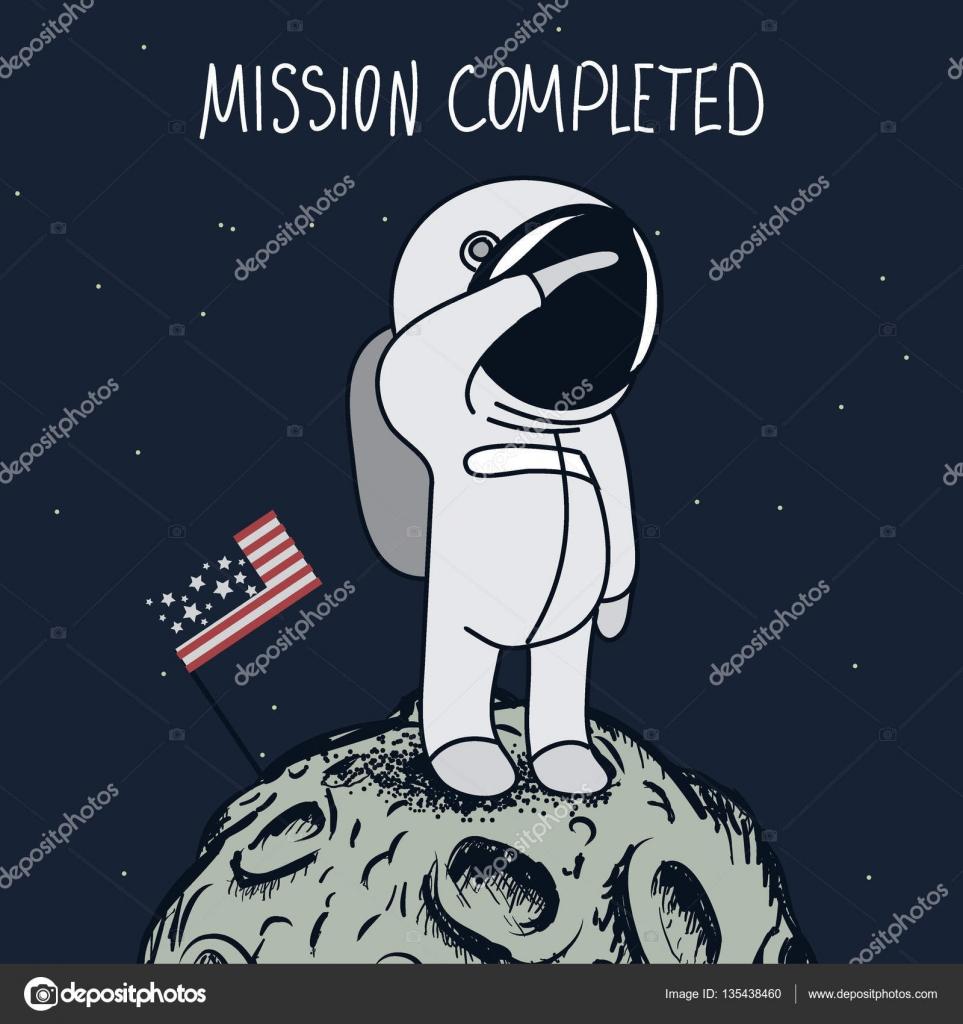 Cartoon Astronaut Standing On The Moon Stock Vector