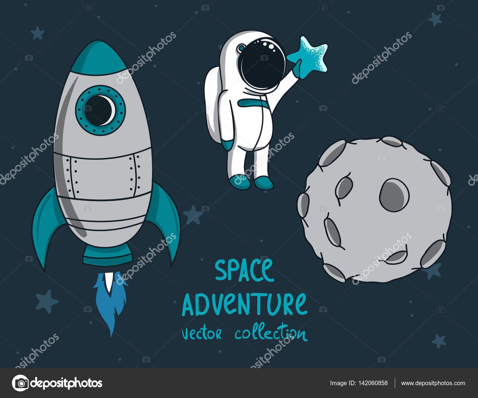 Cohete De Astronauta Y Vintage De Dibujos Animados: Luna, Cohete Y Astronauta Divertido Poco