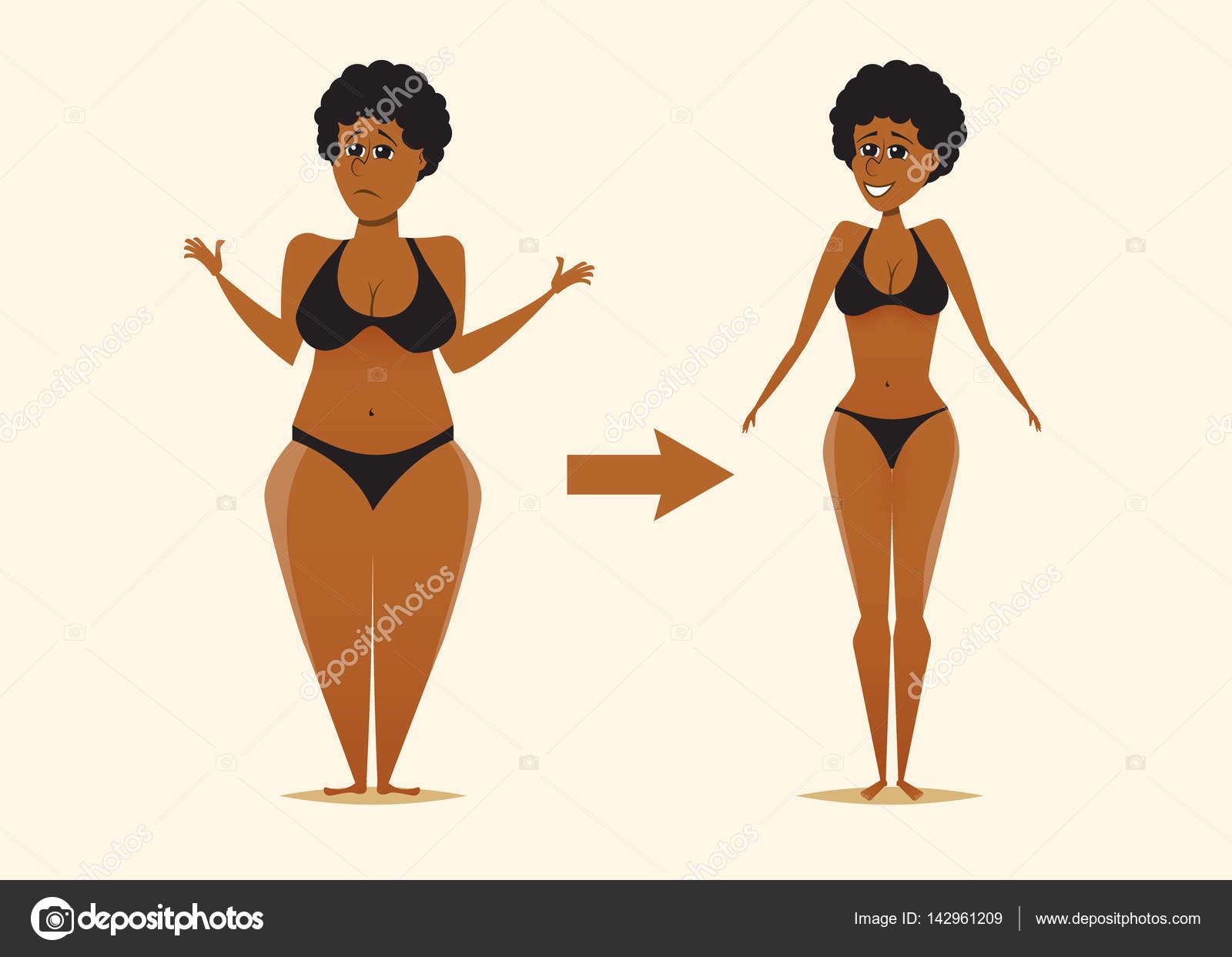 Grasse Et Maigre Femme Noire Apres La Diete Image Vectorielle