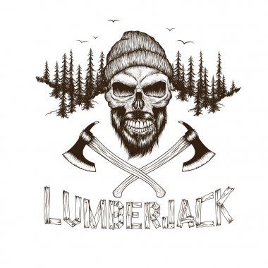 Skull-lumberjack with two axes