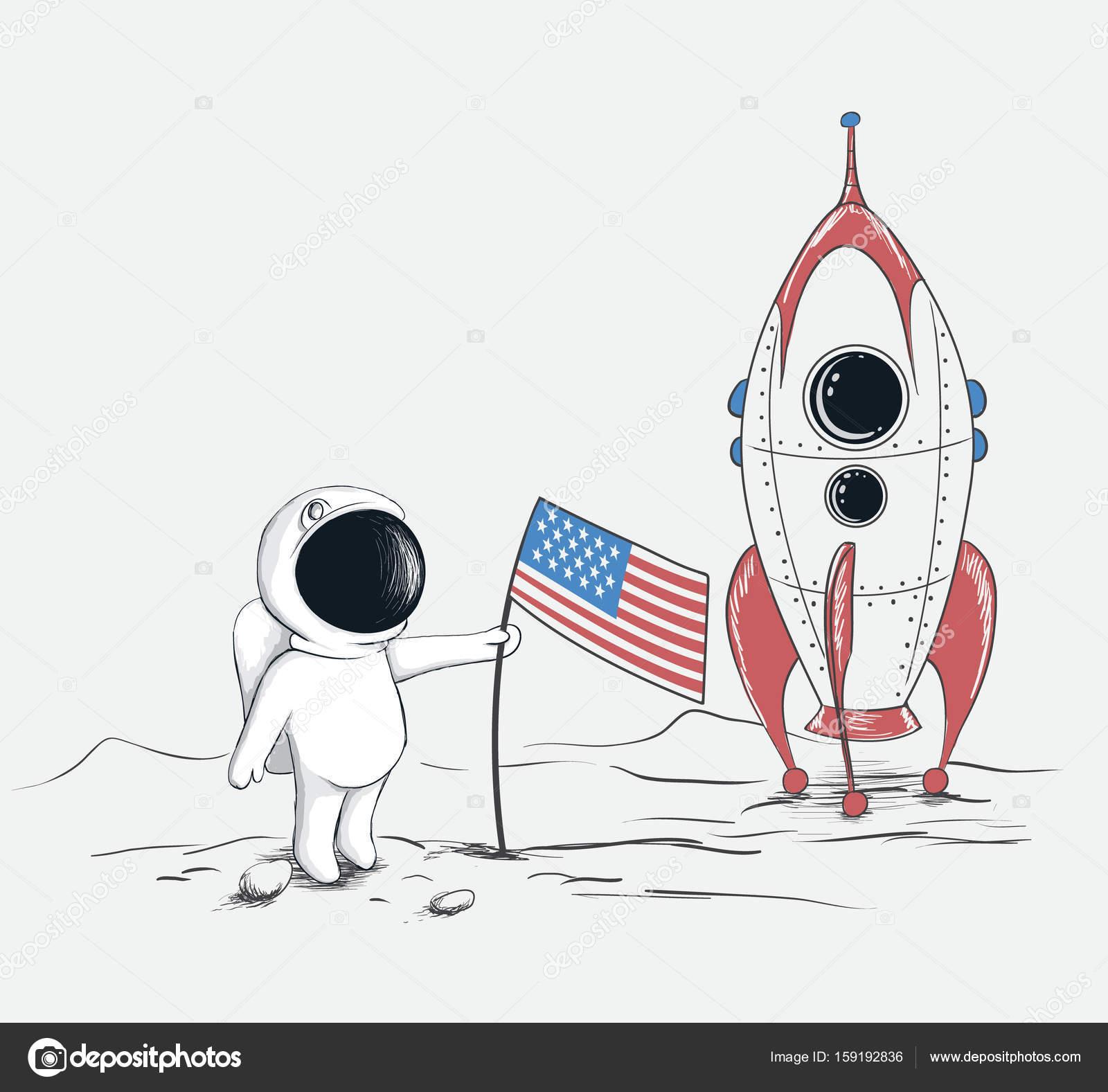 かわいい宇宙飛行士月面 ストックベクター Mirquurius 159192836